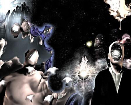 Pintura surrealista. Hombre de traje con la cabeza vacía. Otro hombre con la puerta abierta en lugar de la cara. Las bombillas aladas representan ideas. Foto de archivo