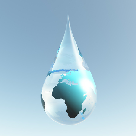 Planet Earth in water drop