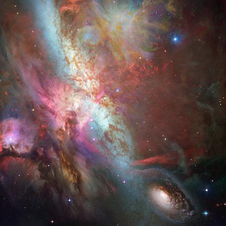 Vivid deep space. Galaxies and nebulae. 3D rendering