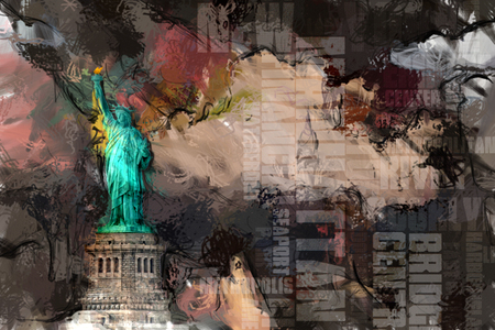Abstract painting. Liberty statue. 3D rendering Foto de archivo