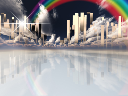 Heavenly Futuristic City in Clouds. Rainbow in the Sky Stock Photo