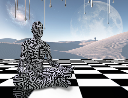 Surrealism. Man with maze pattern sits in lotus pose on a chess board. Lonely traveler in the white sands dune. 3D rendering Imagens - 104377500