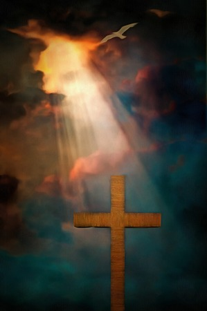 Surrealism. Cross in dramatic clouds.