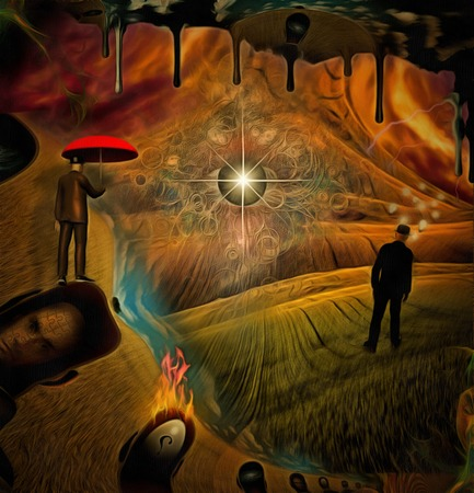Complex surreal painting. Businessman is thinking in the field. Man with red umbrella is hovering in the sky. Gods eye, another dimension flows down. Mens heads with different thoughts.