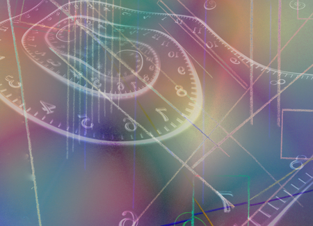 Colorful abstraction. Time spirals and geometric figures. 3D rendering