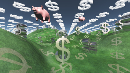 Money success fantasy landscape with floating pigs Stock Photo