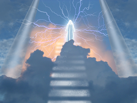 White cloaked figure radiates electricity in heavens Banco de Imagens