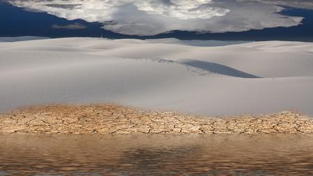 Surreal white desert shore. Calm water Stock Photo
