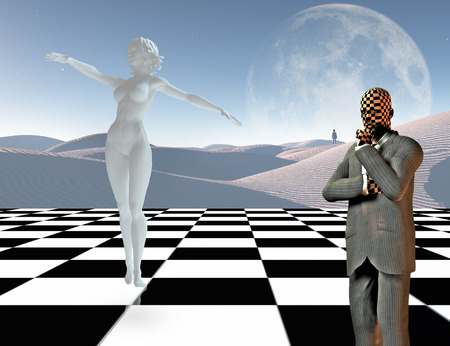 Surrealism. Businessman stands on chessboard. Woman's statue made of white stone. Lonely man in a distance. 3D rendering