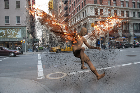 Surrealism. Streets of New York. Naked man with burning wings symbolizes fallen angel.