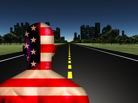 Man in US national colors on a road to the night city.