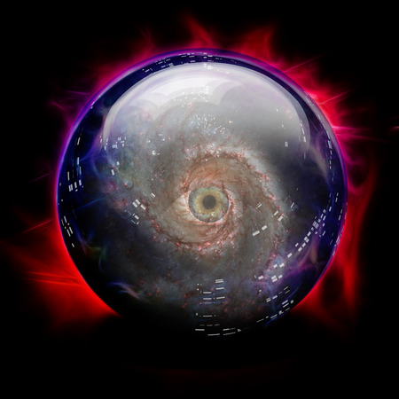 Crystal Ball with Galaxy and Eye Imagens