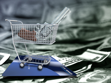 Gun in a cart. US dollars and credit card.
