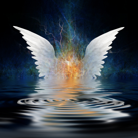 Surrealism. White wings over water ripples.
