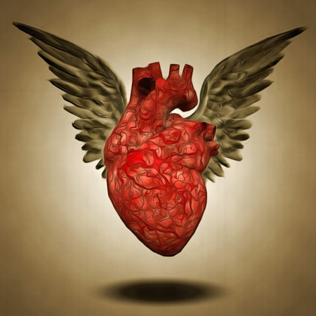 Surreal painting. Winged heart.