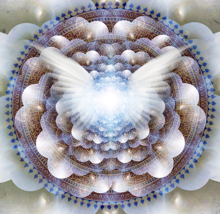 Shining wings in a center of Indian mandala. Multi-layered spaces representing endless dimensions.