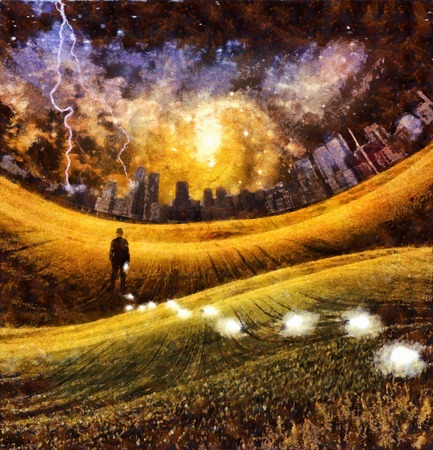Surreal painting. Man is losing light bulbs in the green field. Light bulbs symbolizes ideas. Storm over city at the horizon. Colorful galaxies in the sky.