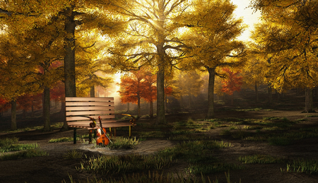 Violin in autumn park. Canvas