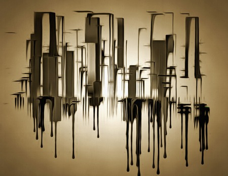 Abstract painting. City shapes drips down.