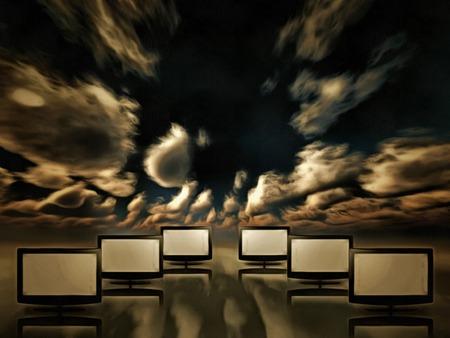 Surrealism. TV screens in the sky.