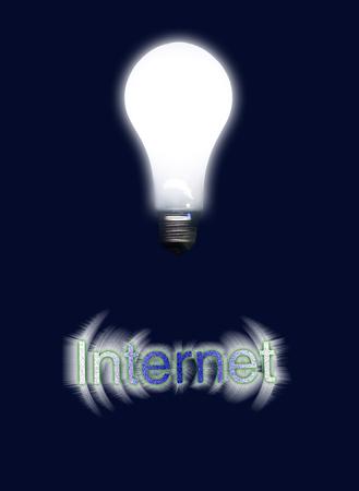 Glowing light bulb represents idea. Internet Reklamní fotografie