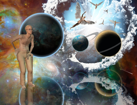 Surreal composition. Armageddon. Asteroids destroy planets. Angels fly in the sky. Old man with naked torso. 3D rendering