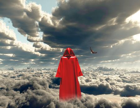 Figure in red cloak stands on a field of clouds. 版權商用圖片