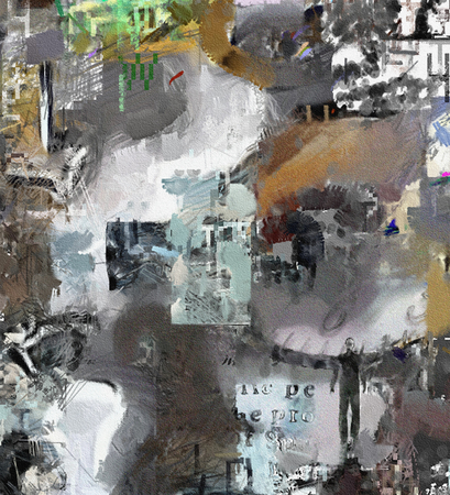 Complex abstract painting. Text, brush strokes, mens silhouette and clock face. Stock Photo