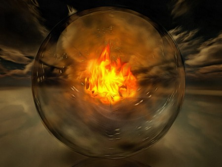 Crystal sphere with fire inside.
