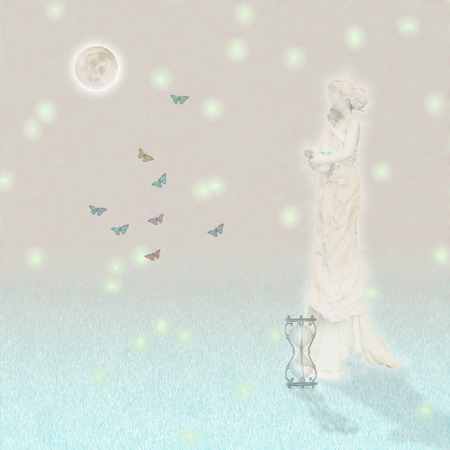 Woman`s marble statue and butterflies. Glowing moon and hourglass. Standard-Bild - 105654488