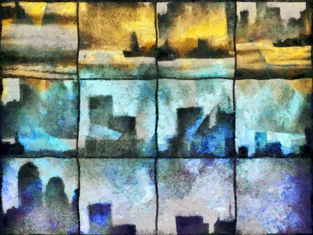 Abstract painting. Urban silhouettes on square mosaic pattern. Stock fotó