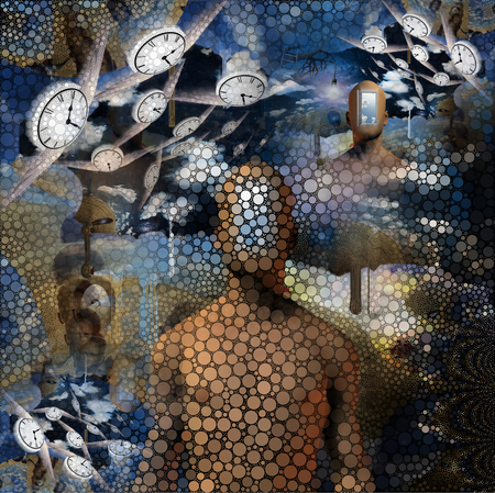 Abstract painting. Naked man with opened door to another world instead of his face. Other dimensions. Winged clocks represents flow of time Imagens - 106014490