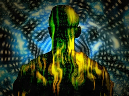 Surreal digital art. Well built man with binary code on a skin.