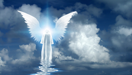 Figure in white cloak stands on water surface. Winged star in cloudy sky. 3D rendering Imagens