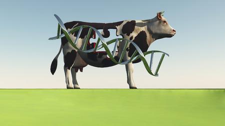 Kuh mit DNA-Strang und Loch in Puzzleform