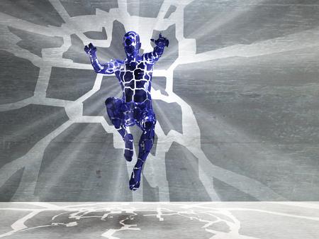 3D rendering. Mens figure radiates light rays. Banco de Imagens
