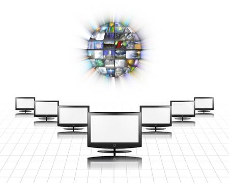 Flat panels video screens and Media Sphere