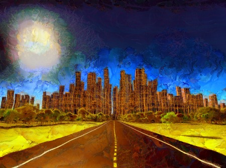Surreal painting. Highway leads to desolate city. Banco de Imagens