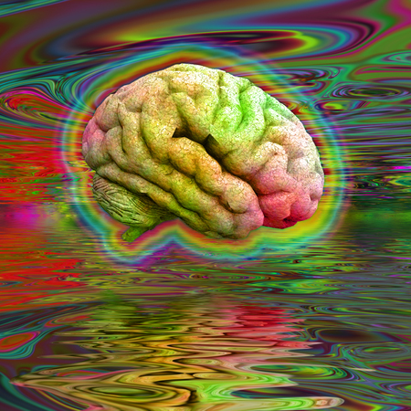 Psychedelic brain hovers over water surface Stock Photo