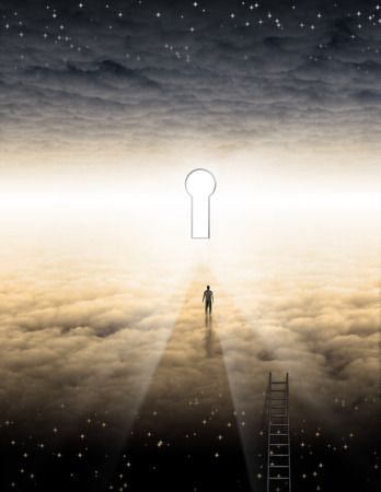 Man in clouds. Key hole in the sky radiates bright light