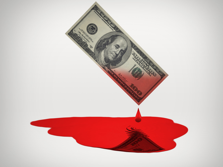 Blood drops from 100 Dollars currency