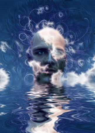 Surreal digital art. Mans head above water. Abstract background.