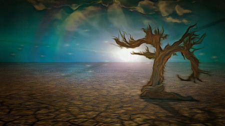 Surreal painting. Dry tree in arid land.