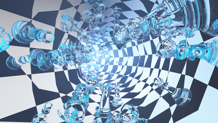 Surrealism. 3D render. Chess tunnel.