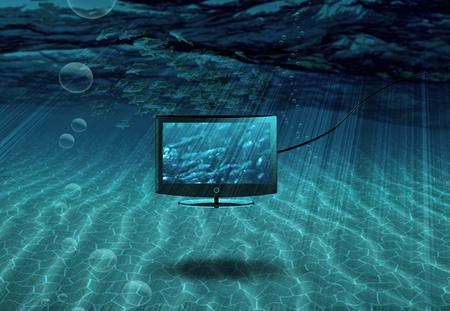 Undersea TV with school of fish