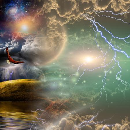 Surreal landscape. Eagle in vivid starry sky Standard-Bild - 106644689