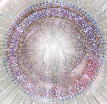 Shining aura and rays of light. Mandala. Фото со стока