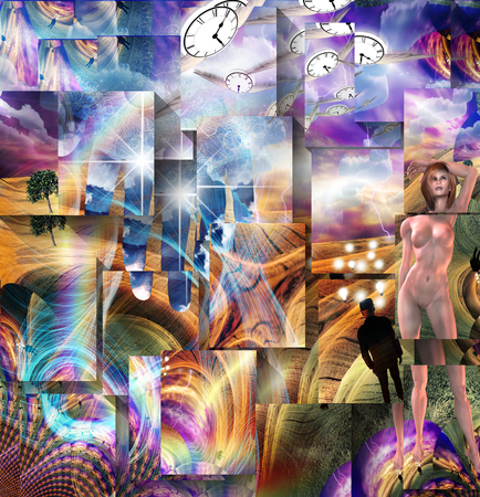 Nude  and time fly in surreal landscape