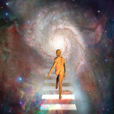 El hombre viaja por las escaleras hacia los cielos