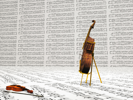 Violin and cello. Music notes sheets background
